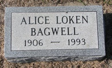 LOKEN BAGWELL, ALICE - Charles Mix County, South Dakota | ALICE LOKEN BAGWELL - South Dakota Gravestone Photos