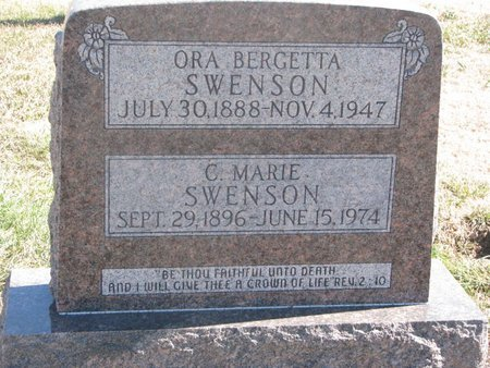 SWENSON, ORA BERGETTA - Charles Mix County, South Dakota | ORA BERGETTA SWENSON - South Dakota Gravestone Photos