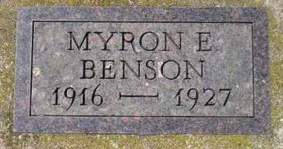 BENSON, MYRON E. - Clark County, South Dakota   MYRON E. BENSON - South Dakota Gravestone Photos