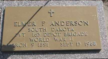 ANDERSON, ELMER F. - Clay County, South Dakota   ELMER F. ANDERSON - South Dakota Gravestone Photos