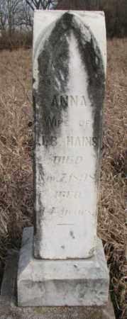 HAINS, ANNA - Clay County, South Dakota   ANNA HAINS - South Dakota Gravestone Photos