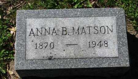 MATSON, ANNA B. - Clay County, South Dakota   ANNA B. MATSON - South Dakota Gravestone Photos