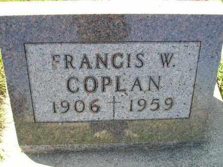 COPLAN, FRANCIS W. - Codington County, South Dakota   FRANCIS W. COPLAN - South Dakota Gravestone Photos