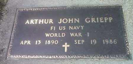 GRIEPP, ARTHUR JONN (MILITARY) - Codington County, South Dakota | ARTHUR JONN (MILITARY) GRIEPP - South Dakota Gravestone Photos