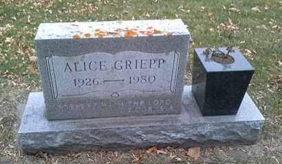 GRIEPP, ALICE - Codington County, South Dakota | ALICE GRIEPP - South Dakota Gravestone Photos