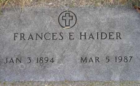 HAIDER, FRANCES E. - Codington County, South Dakota | FRANCES E. HAIDER - South Dakota Gravestone Photos