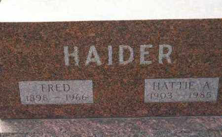 HAIDER, HATTIE A. - Codington County, South Dakota   HATTIE A. HAIDER - South Dakota Gravestone Photos
