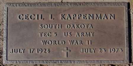 KAPPENMAN, CECIL L - Davison County, South Dakota   CECIL L KAPPENMAN - South Dakota Gravestone Photos