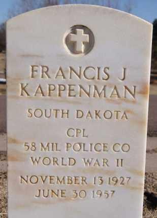 KAPPENMAN, FRANCIS J - Davison County, South Dakota | FRANCIS J KAPPENMAN - South Dakota Gravestone Photos