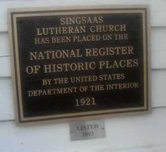 *SINGSAAS CHURCH PLAQUE, . - Deuel County, South Dakota   . *SINGSAAS CHURCH PLAQUE - South Dakota Gravestone Photos