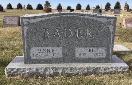 MAUCH BADER, MINNIE - Edmunds County, South Dakota   MINNIE MAUCH BADER - South Dakota Gravestone Photos