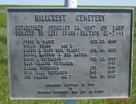 *HILLCREST CEMETERY, PLAQUE AT CENTER - Fall River County, South Dakota   PLAQUE AT CENTER *HILLCREST CEMETERY - South Dakota Gravestone Photos