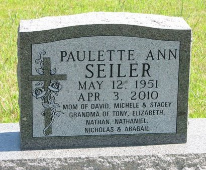 SEILER, PAULETTE ANN - Gregory County, South Dakota | PAULETTE ANN SEILER - South Dakota Gravestone Photos