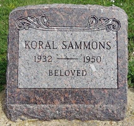 SAMMONS, KORAL - Haakon County, South Dakota   KORAL SAMMONS - South Dakota Gravestone Photos
