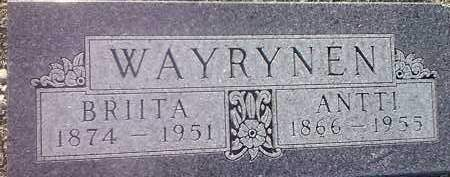 WAYRYNEN, BRIITA - Hamlin County, South Dakota | BRIITA WAYRYNEN - South Dakota Gravestone Photos