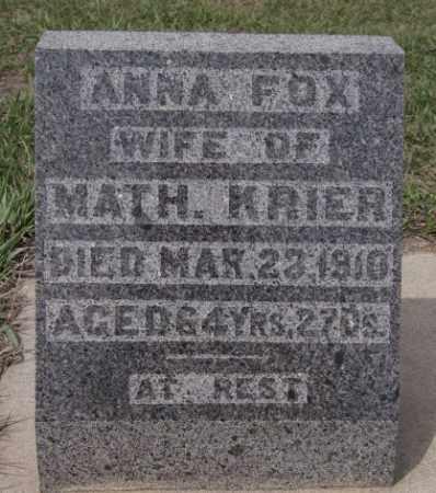 FOX KRIER, ANNA - Hanson County, South Dakota | ANNA FOX KRIER - South Dakota Gravestone Photos