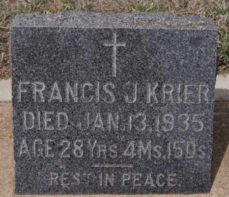 KRIER, FRANCIS J - Hanson County, South Dakota | FRANCIS J KRIER - South Dakota Gravestone Photos