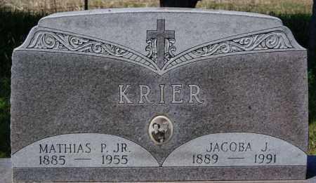 KRIER, JACOBA J - Hanson County, South Dakota | JACOBA J KRIER - South Dakota Gravestone Photos