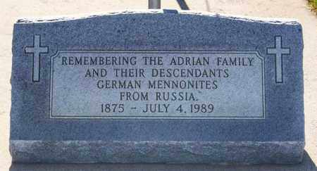 ***ADRIAN CEMETERY, MARKER - Hutchinson County, South Dakota   MARKER ***ADRIAN CEMETERY - South Dakota Gravestone Photos