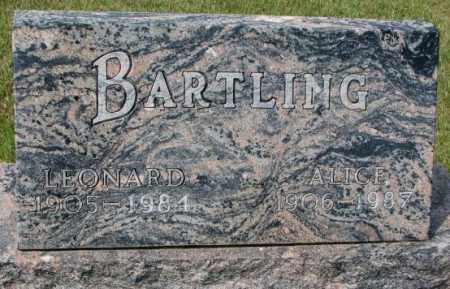 BARTLING, ALICE - Hutchinson County, South Dakota | ALICE BARTLING - South Dakota Gravestone Photos