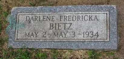BIETZ, DARLENE FREDRICKA - Hutchinson County, South Dakota | DARLENE FREDRICKA BIETZ - South Dakota Gravestone Photos