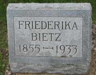 BIETZ, FRIEDERIKA - Hutchinson County, South Dakota | FRIEDERIKA BIETZ - South Dakota Gravestone Photos