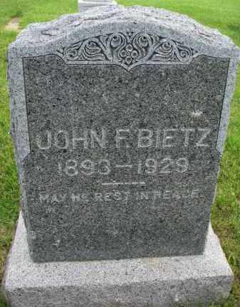 BIETZ, JOHN F - Hutchinson County, South Dakota | JOHN F BIETZ - South Dakota Gravestone Photos