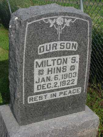 HINS, MILTON S. - Hutchinson County, South Dakota | MILTON S. HINS - South Dakota Gravestone Photos