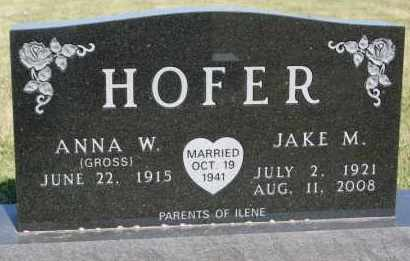 GROSS HOFER, ANNA W - Hutchinson County, South Dakota | ANNA W GROSS HOFER - South Dakota Gravestone Photos