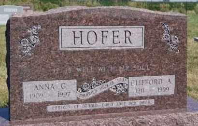 HOFER, ANNA G - Hutchinson County, South Dakota | ANNA G HOFER - South Dakota Gravestone Photos