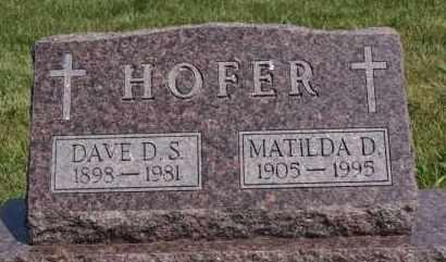 HOFER, MATILDA D - Hutchinson County, South Dakota | MATILDA D HOFER - South Dakota Gravestone Photos