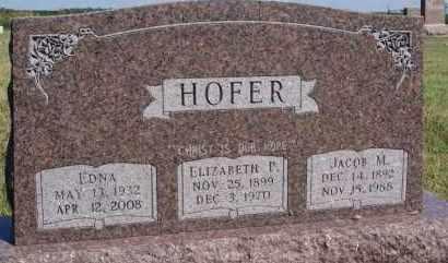 HOFER, EDNA - Hutchinson County, South Dakota | EDNA HOFER - South Dakota Gravestone Photos