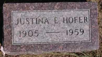 HOFER, JUSTINA E - Hutchinson County, South Dakota | JUSTINA E HOFER - South Dakota Gravestone Photos