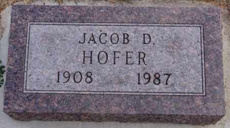 HOFER, JACOB D - Hutchinson County, South Dakota | JACOB D HOFER - South Dakota Gravestone Photos
