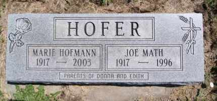 HOFER, JOE MATH - Hutchinson County, South Dakota | JOE MATH HOFER - South Dakota Gravestone Photos