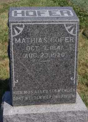 HOFER, MATHIAS - Hutchinson County, South Dakota | MATHIAS HOFER - South Dakota Gravestone Photos