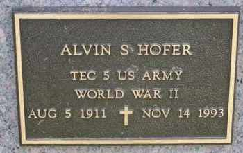 HOFER, ALVIN S (WWII) - Hutchinson County, South Dakota   ALVIN S (WWII) HOFER - South Dakota Gravestone Photos