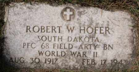 HOFER, ROBERT W (WWII) - Hutchinson County, South Dakota | ROBERT W (WWII) HOFER - South Dakota Gravestone Photos
