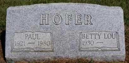 HOFER, BETTY LOU - Hutchinson County, South Dakota   BETTY LOU HOFER - South Dakota Gravestone Photos