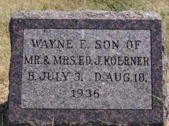 KOERNER, WAYNE E - Hutchinson County, South Dakota   WAYNE E KOERNER - South Dakota Gravestone Photos