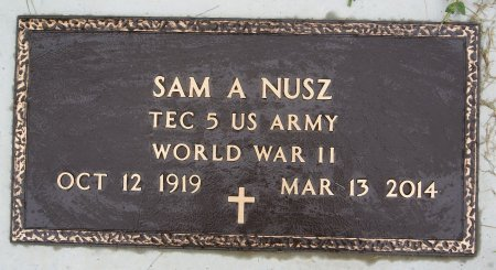 NUSZ, SAM (WWII) - Hutchinson County, South Dakota | SAM (WWII) NUSZ - South Dakota Gravestone Photos