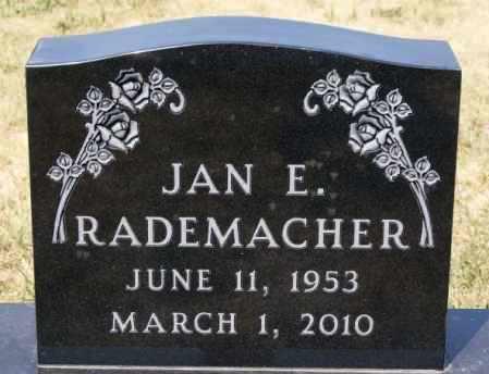 RADEMACHER, JAN E - Hutchinson County, South Dakota | JAN E RADEMACHER - South Dakota Gravestone Photos