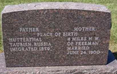 WIPF, JOSEPH L & ANNA HOFER REAR VIEW - Hutchinson County, South Dakota | JOSEPH L & ANNA HOFER REAR VIEW WIPF - South Dakota Gravestone Photos