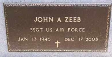 ZEEB MILITARY MARKER, JOHN A - Hutchinson County, South Dakota | JOHN A ZEEB MILITARY MARKER - South Dakota Gravestone Photos