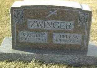 ZWINGER, THERESA - Hutchinson County, South Dakota | THERESA ZWINGER - South Dakota Gravestone Photos