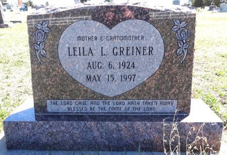 GREINER, LEILA L. - Jones County, South Dakota | LEILA L. GREINER - South Dakota Gravestone Photos