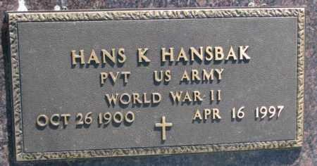 HANSBAK, HANS K. - Jones County, South Dakota | HANS K. HANSBAK - South Dakota Gravestone Photos