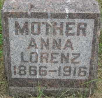 LORENZ, ANNA - Kingsbury County, South Dakota | ANNA LORENZ - South Dakota Gravestone Photos