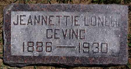 LONER GEVING, JEANNETTIE - Lake County, South Dakota | JEANNETTIE LONER GEVING - South Dakota Gravestone Photos