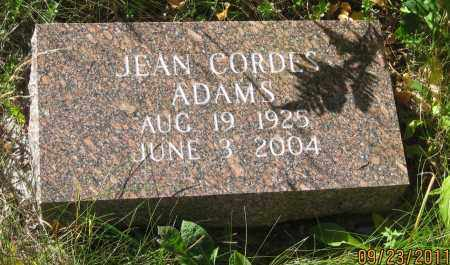 CORDES ADAMS, JEAN - Lawrence County, South Dakota | JEAN CORDES ADAMS - South Dakota Gravestone Photos